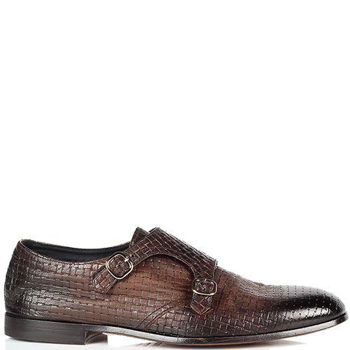 Кожаные плетеные туфли Doucal's коричневого цвета, фото