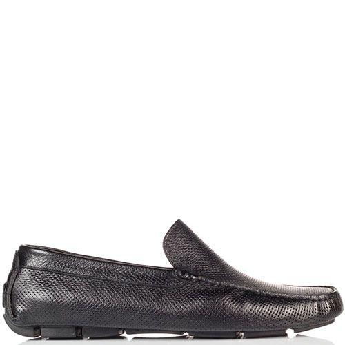 Кожаные мокасины Doucal's из кожи черного цвета с перфорацией, фото