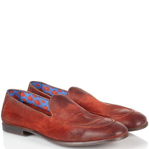 Кожаные лоферы Doucal's красного цвета с коричневыми подпалами, фото