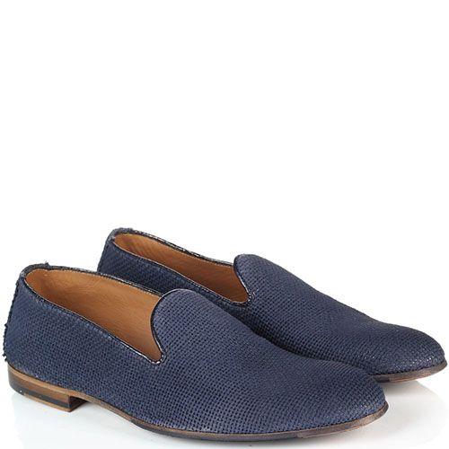 Туфли-лоферы из текстиля Doucal's голубого цвета, фото