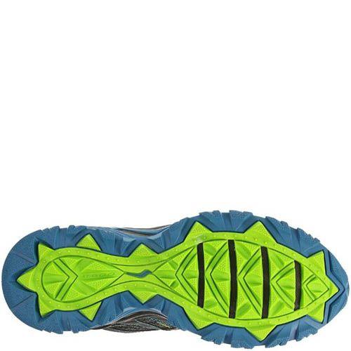 Мужские кроссовки Saucony Excursion TR8 GTX серые с голубым и зеленым, фото