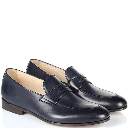 Кожаные туфли-лоферы Doucal's синего цвета, фото