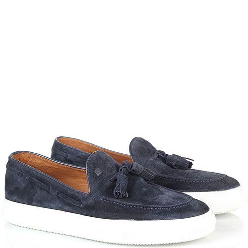 Замшевые туфли-лоферы с кисточками Fratelli Rossetti синего цвета на толстой подошве, фото