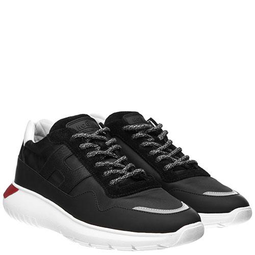 Черные кроссовки Hogan из кожи и текстиля, фото