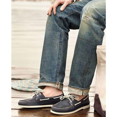 Топсайдеры Sperry мужские синего цвета с белой шнуровкой, фото