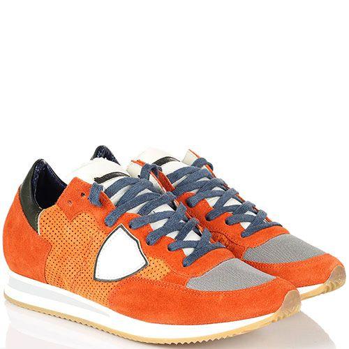 Кроссовки из замши и текстиля Philippe Model оранжевого цвета на толстой подошве, фото