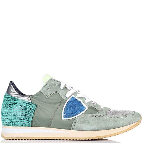 Серые кроссовки из замши и текстиля Philippe Model, фото