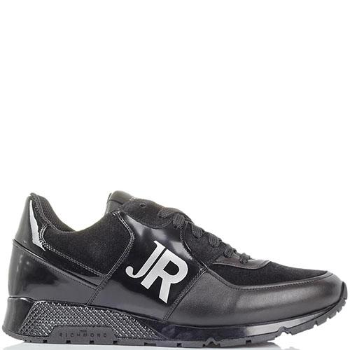 Черные кожаные кроссовки John Richmond со вставками из замши и полированной кожи, фото