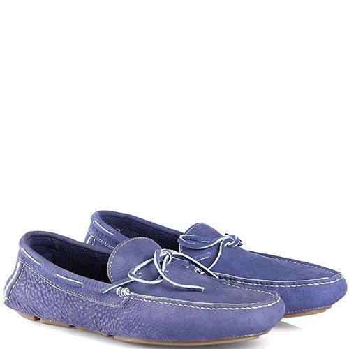 Мужские мокасины Swamp из мягкого нубука синие с легким фиолетовым оттенком, фото