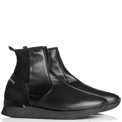 Черные кожаные ботинки John Richmond с текстильными элементами, фото