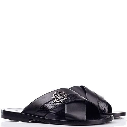 Шлепанцы Roberto Cavalli черного цвета, фото