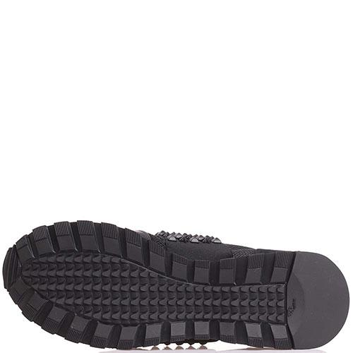 Кроссовки без шнуровки Philipp Plein черного цвета с декором-заклепками, фото