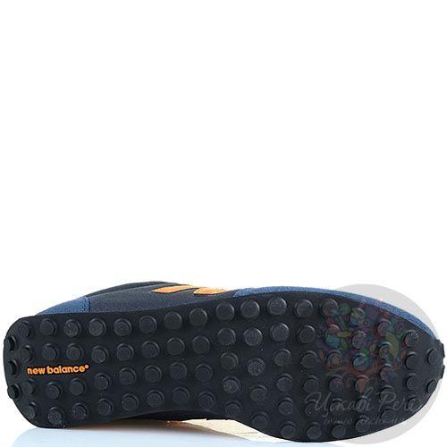 Кроссовки New Balance LifeStyle 410 замшевые вощеные серо-синие с оранжево-желтым, фото