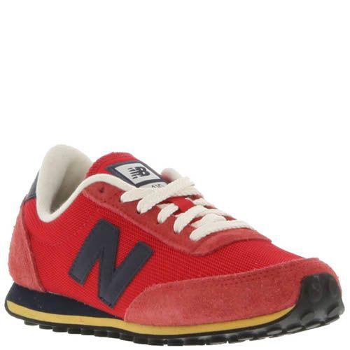 Кроссовки New Balance U410H красные с замшевыми вставками, фото