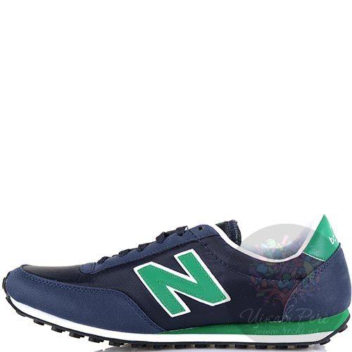 Кроссовки New Balance LifeStyle 410 замшевые темно-синие с зеленым, фото