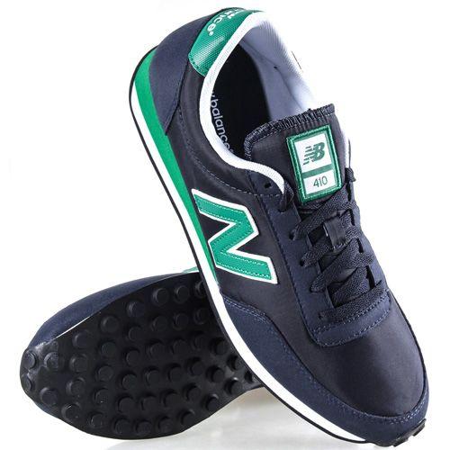 Кроссовки New Balance LifeStyle 410 замшевые вощеные темно-синие с изумрудно-зеленым, фото