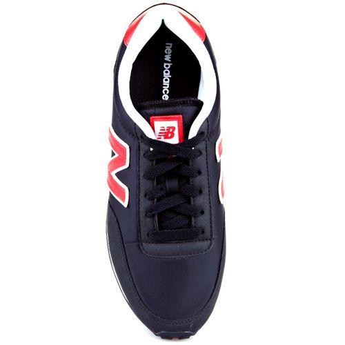 Кроссовки New Balance LifeStyle 410 замшевые вощеные черные с красным, фото
