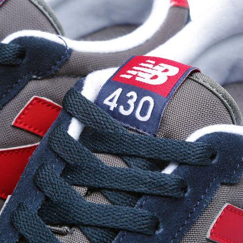 Кроссовки New Balance LifeStyle 430 замшевые вощеные сине-серые с красным, фото
