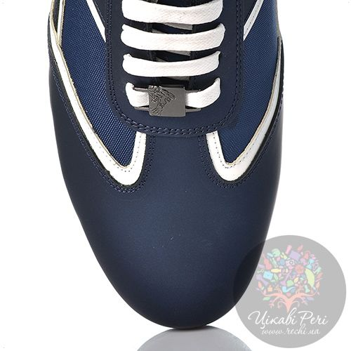 Кеды Versace Collection из синего нубука с текстильными вставками, фото