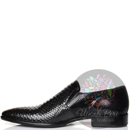 Туфли Valerio Neri кожаные черные с шикарной фактурой шкуры питона, фото