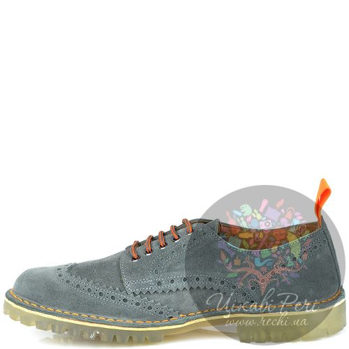 Туфли W6YZ из серой замши с голубым оттенком на протекторной подошве, фото