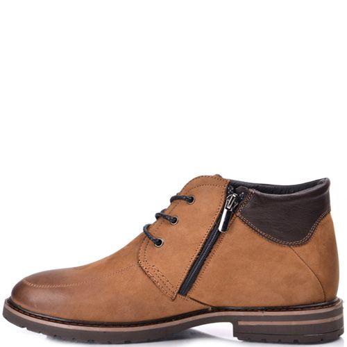 Ботинки зимние Lucky Choice коричневый нубук с кожаной вставкой, фото
