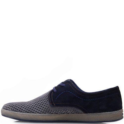 Туфли Prego из натуральной серо-синей замши с перфорацией на носочке, фото