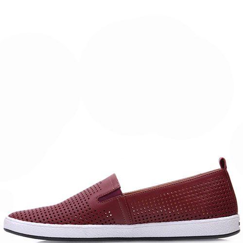 Туфли Prego из натуральной перфорированной кожи бордового цвета на белой подошве, фото