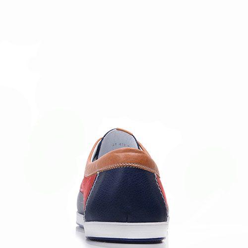 Топсайдеры Prego из натуральной синей кожи с красными и коричневыми вставками, фото