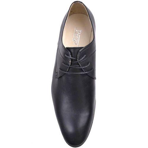 Туфли Prego черного цвета со вставкой из рельефной кожи, фото