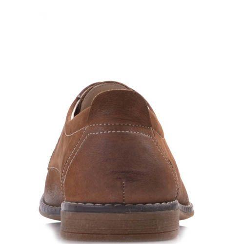 Туфли Prego коричневого цвета из нубука на шнуровке с затемненным носком, фото