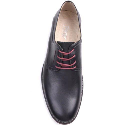 Туфли Prego черного цвета с красными шнурками и красной вставкой вдоль подошвы, фото
