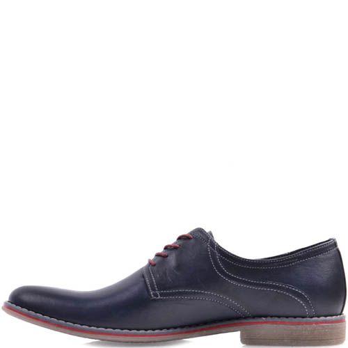Туфли Prego синего цвета с красными шнурками и красной вставкой вдоль подошвы, фото