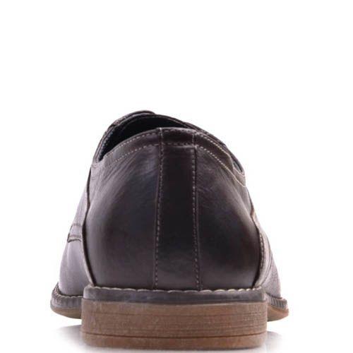 Туфли Prego классические шоколадного оттенка и декоративными красными строчками, фото