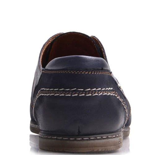 Туфли Prego мужские из нубука синего цвета с гладким носком, фото