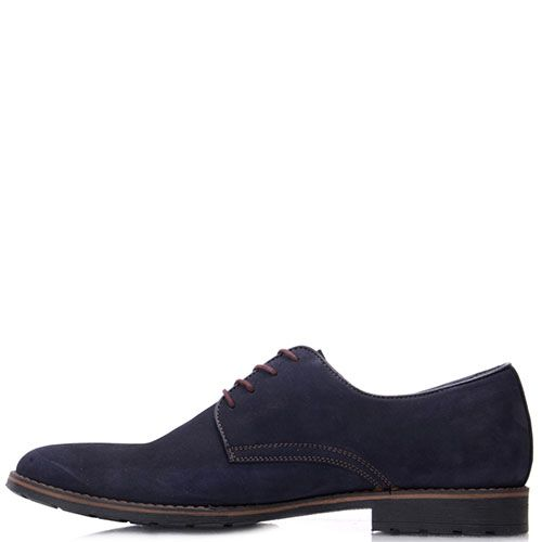 Туфли Prego из синего нубука с коричневой отделкой, фото