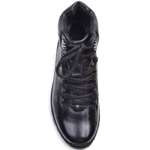 Ботинки Prego зимние черного цвета кожаные с двумя металлическими крючками для шнуровки, фото