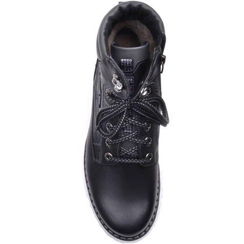Ботинки Prego зимние черного цвета кожаные на меху с рельефной подошвой, фото