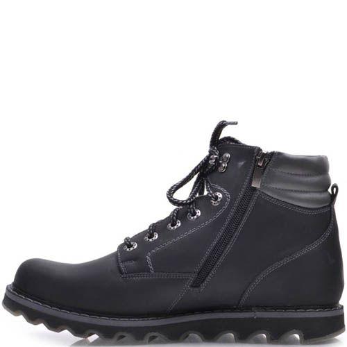 Ботинки Prego зимние черного цвета из нубука на меху с рельефной подошвой, фото