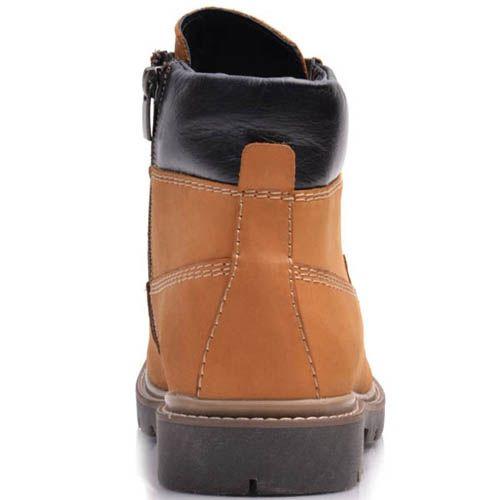 Ботинки Prego зимние черного цвета кожаные светло-коричневого цвета со вставками черной кожи, фото