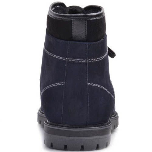 Ботинки Prego зимние синего цвета из нубука на шнуровке с черной вставкой по краю, фото