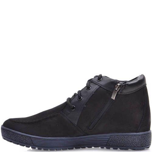 Ботинки Prego зимние черного цвета из нубука с наружным швом на носке и синей подошвой, фото