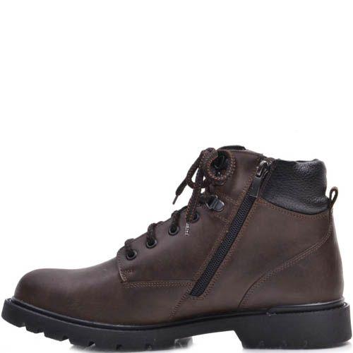 Ботинки Prego зимние коричневого цвета с металическими петлями для шнурков, фото