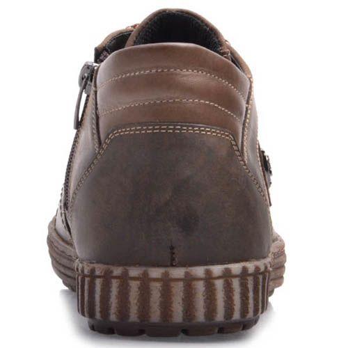 Ботинки Prego зимние коричневого цвета из нубука на меху с металическим декором, фото