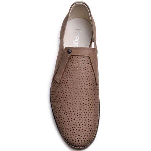 Туфли Prego из бежевого нубука с вырезами, фото
