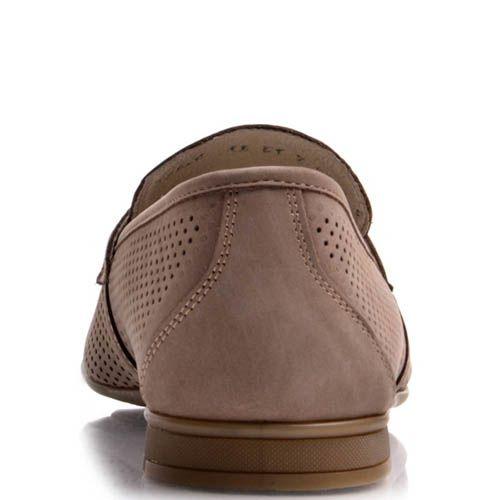 Лоферы Prego коричневого цвета из нубука с перфорацией, фото