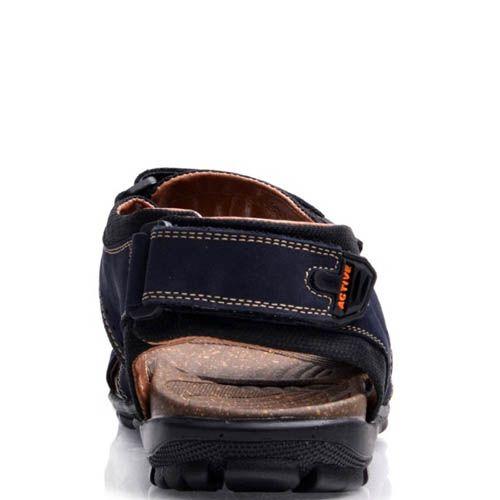 Сандалии Prego спортивные из синего нубука с темной кожей внутри, фото