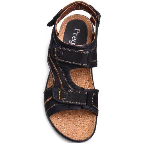 Сандалии Prego спортивные черного цвета с липучками и пробковой серединой, фото
