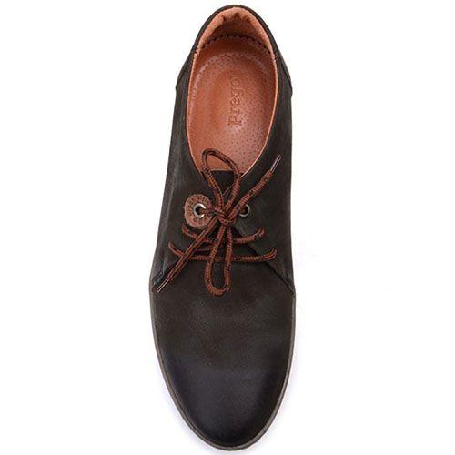 Туфли на шнуровке Prego из нубука темно-оливкового цвета, фото