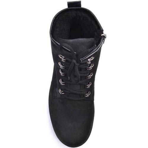 Ботинки Prego зимние спортивные на меху черного цвета с металлическими петлями для шнуровки, фото